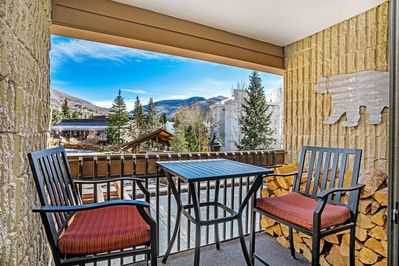 Enjoy stunning views of Vail Mountain from your balcony.  Propane grill.