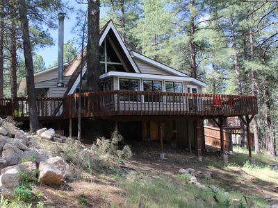 Photo for Pine View Lodge - Spacious with Large Deck, Great for Families, Backs Forest