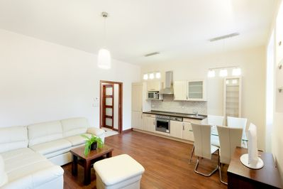 The living room with Kitchen and Dining area