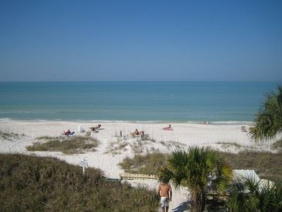 View of the beach and Gulf of Mexico from our terrace.
