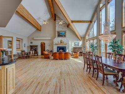 """Photo for Glamorous Ballroom living area, hot tub, 80"""" TV, pool table, overlooking Baldy and the golf-course!"""