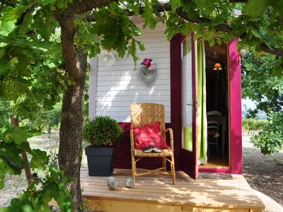 Photo for Delicious fully equipped gypsy caravan in a haven of peace - long swimming pool