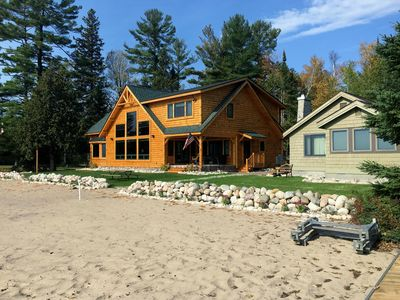 New Log Home Plus Guest Cottage With Sandy Beach!!!  See also listing #1042700!