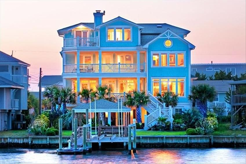 The Sanctuary Designer S Luxury Waterfront Home With Large Dock On Quiet Lagoon Share Parmele Isle Wrightsville Beach