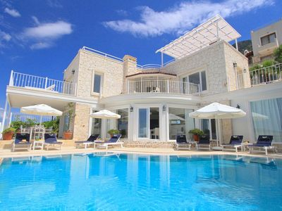 Photo for Stunning villa with Pool and Extensive Terraces Magnificent Views of Kalkan Bay.