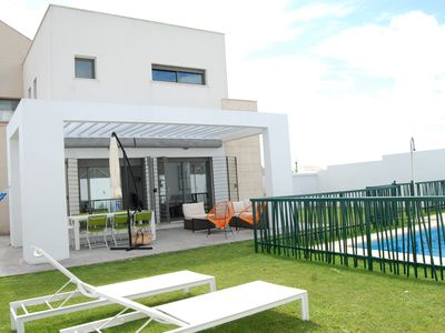 Photo for Villa design with private pool and garden next to the beach, up to 14 people