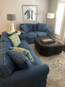Living area. Queen size sofa sleeper and loveseat.