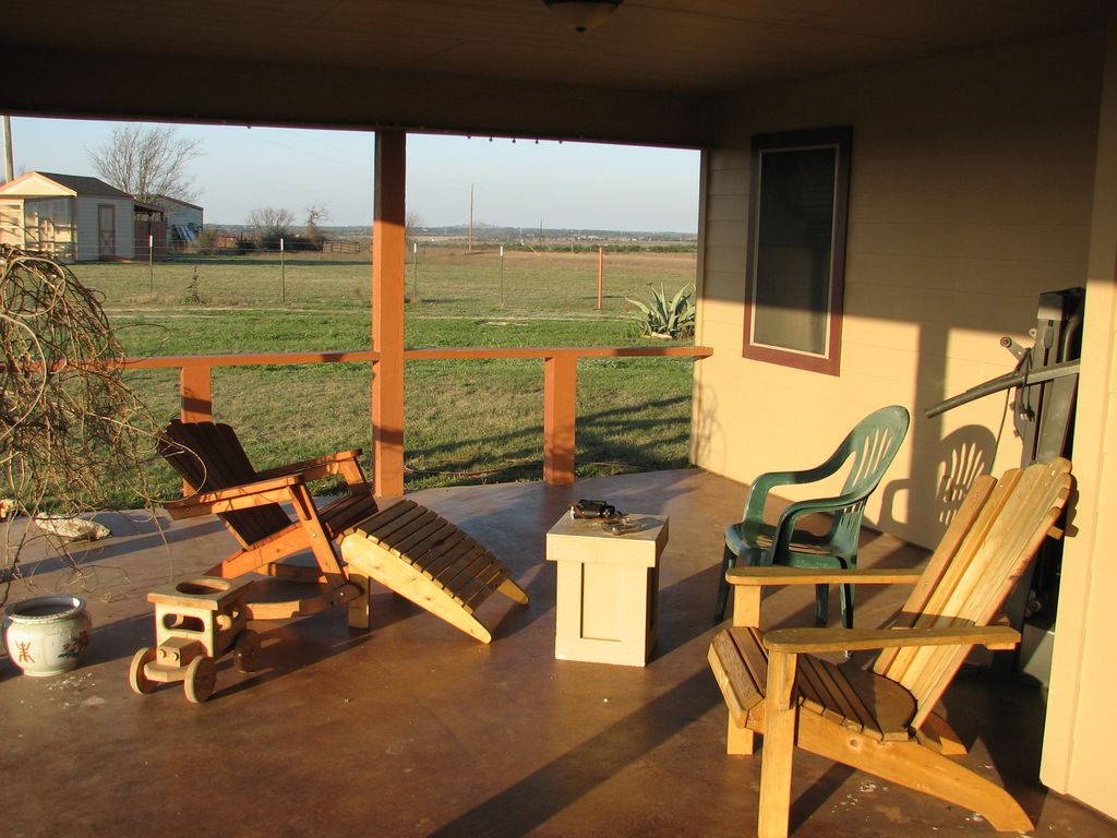 Side Porch Good For Bird Viewing Or Coffee Solar Lights Come On At Night