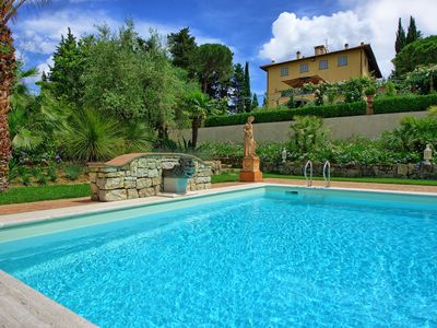 Photo for Nice apartment with WIFI, pool, A/C, TV, balcony, panoramic view, parking, close to Greve In Chianti