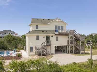 Photo for Dolphin Days: Oceanside, private pool, pet friendly, Whalehead Beach.