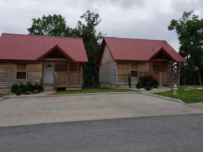 Photo for Very Cute, Twin One-Bedroom Cabins Rent as a Pair. Center of Branson. Great Cabin Furnishings. Fun!