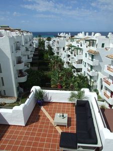View on sea and 1st floor terrace from master bedroom