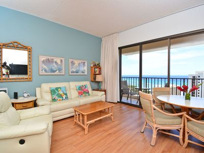 Photo for Sweeping ocean views from penthouse-level one-bedroom with AC!  Sleeps 4.