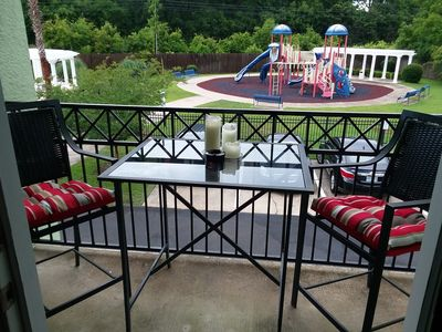 A table for 2 awaits you balcony overlooks Walk in, Saltwater pool and tot park