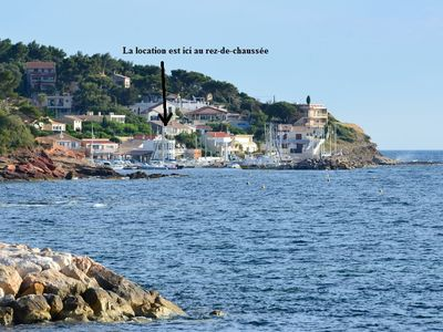 Photo for feet in the water at the small port of Oursinières - Le Pradet
