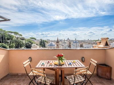 Photo for Exclusive attic with private terrace right in front of Piazza Del Popolo, with unique panoramic view