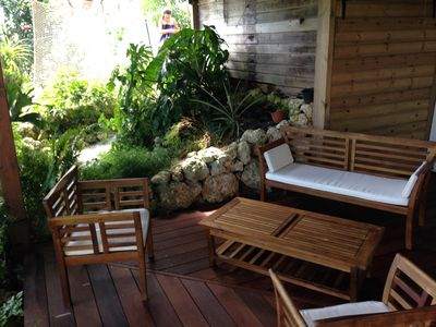 Photo for Pleasant apartment in tropical garden 5 minutes from the sea and the village