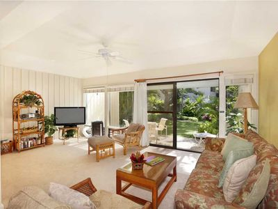 "Photo for Poipu Ground Floor w/Perfect Garden View ""A/C Living Room""*Manualoha 1103*"
