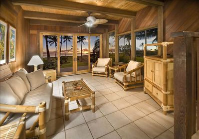 Living Room - Tile floors, bamboo furniture, and custom redwood throughout