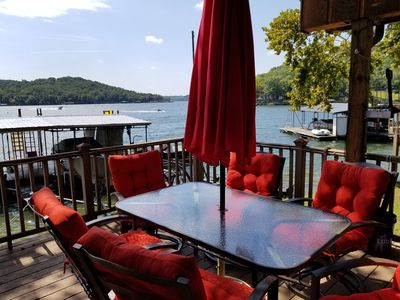 Covered deck overlooking Lake
