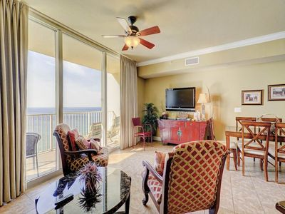 Photo for 19th-floor gulf-front condo! Free beach service! Fitness center + Roman spa on-site!
