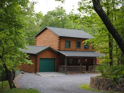 Photo for The West Virginian 3 storey log cabin in 10 acre wooded area adjacent to Pipestem State Park and Resort.