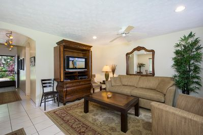 Living Room Area of Townhome#36, That's a Queen Sized pullout sofa that can sleep 2!