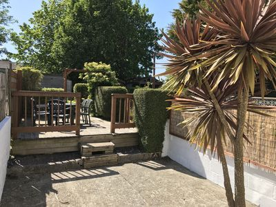 Cosy Cottage Hayle. Deck and BBQ area with views to the Towans (dunes)