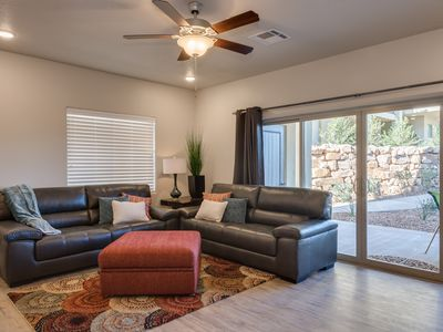 Photo for Ideal for Families!  Walk out to a great grass area & pool.