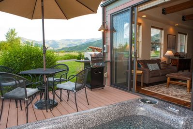 Hot tub view is amazing all seasons.  All ski resorts are visible while lounging