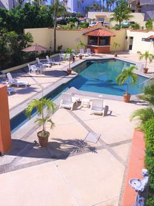 View of our pool from private patio