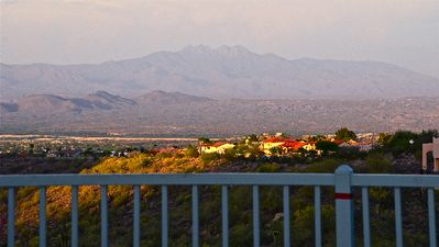 VIEW FROM THE PATIO OF FOUR PEAKS AND TOWN OF FOUNTAIN HILLS