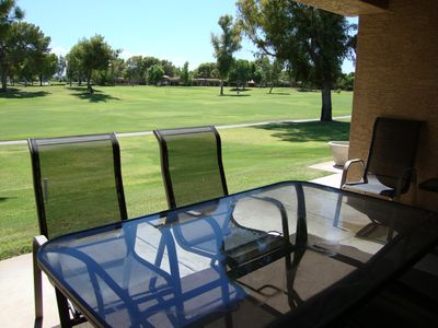 Forever golf front views from your private patio. Electric bbq included!