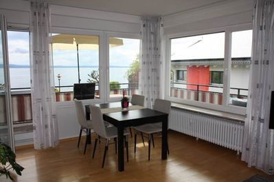 Living room with view over lake Constance