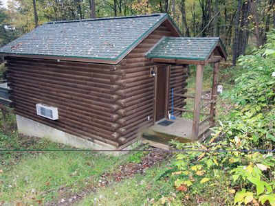 Photo for Comfy couples cabin in the woods of Hocking Hills with a hot tub!