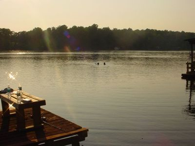 View of lake from the dock as the kids cool off with a swim!