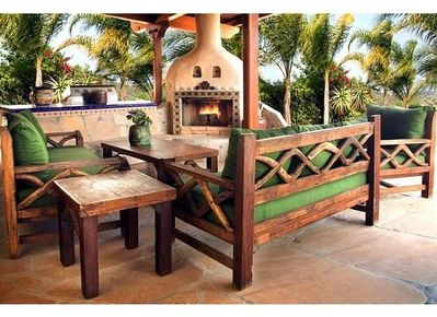 Relax in the shade any time of day, or warm up by the fire on cool evenings.