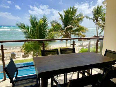 Photo for Brand New Beachfront 2 BR Condo, POOL, Wifi, AC (Akumal)
