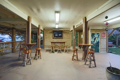 Tiki bar area located under the home. Large tv has cable.