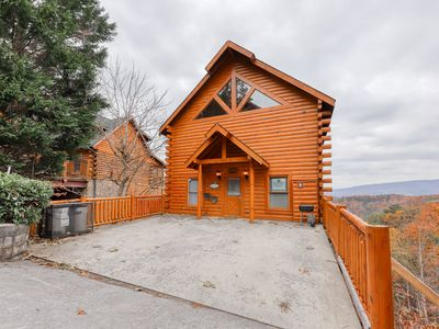 Photo for Easy access cabin with private hot tub, pool table, & lovely mountain views!