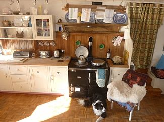 our dog pero relaxing by the aga in Derwin