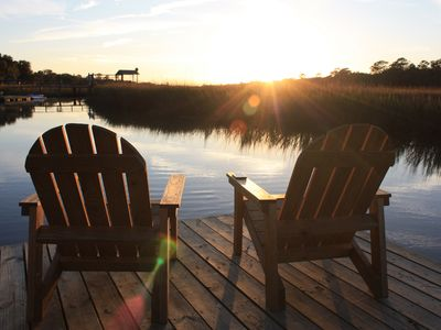 Photo for Shem Creek Paradise. Fish, Paddle, Kayak Off Your Own Covered dock with floater