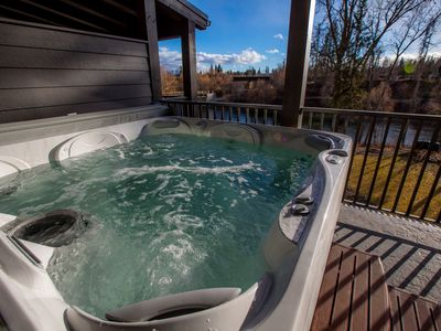 Photo for Whitefish River Front Townhouse w/ Private Dock + Outdoor Fire Pits + Hot Tub!