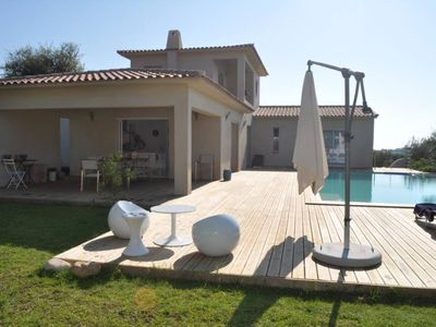 Photo for Beautiful villa with heated pool, near Pinarellu Fautea and beaches. Sea view. 8 people