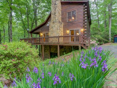 Photo for Creekside family retreat w/private hot tub, billiards table, & tree-lined views
