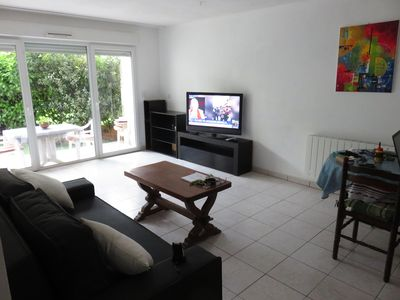 Photo for Charming apartment T2 ground floor 2 terraces 1km beaches free immediately