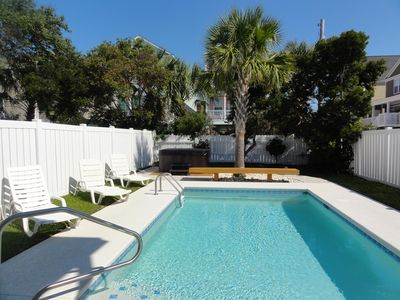 Photo for Steps to beach!/Free Linens/private pool/hot tub