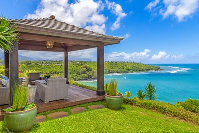 Breathtaking views of the beautiful blue sea from the private backyard oasis.