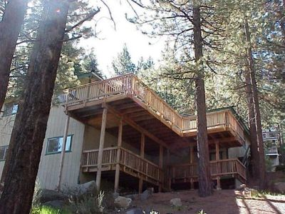 This view shows the two large decks. The hot tub is built into the upper deck.