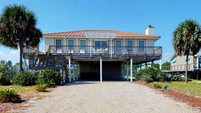 "Photo for Ready Now- No Storm Issues! FREE BEACH GEAR! Pets OK, Beach View, Pool, Hot Tub, 3BR/2BA ""Island Charm"""